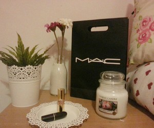 flowers, lipstick, and M.A.C image