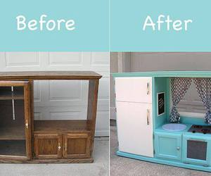 old cabinet and new kids play kitchen image
