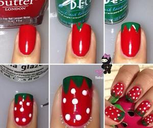 <3, fraise, and nail art image