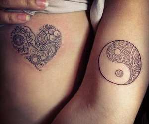 heart, ying yang, and Tattoos image