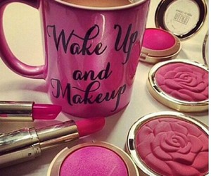 pink, makeup, and lipstick image