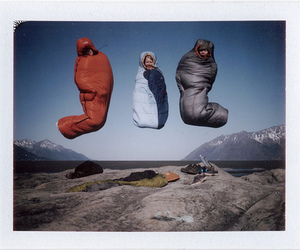 jump, sleeping bag, and camping image