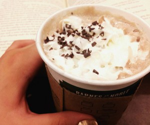 book, barnes and noble, and hot ​chocolate image