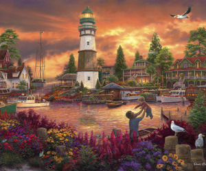 art, paintings, and lighthouses image