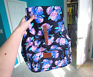 backpack, bag, and flowers image