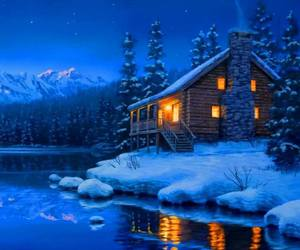 log cabin, lovely, and snowy image