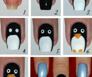 nails, penguin, and nail art image
