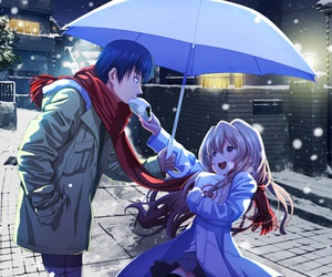 anime, snow, and light image