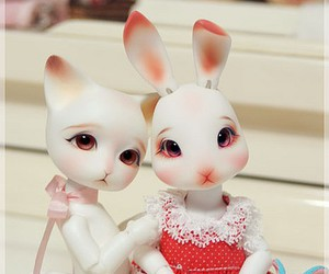 adorable, bunny, and kitten image
