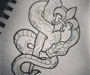 drawing, lys, and snake image