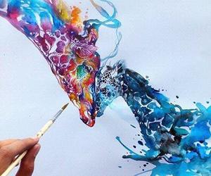 art, giraffe, and drawing image