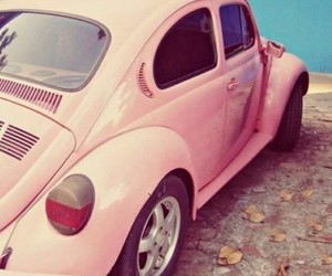 pink, retro, and car image
