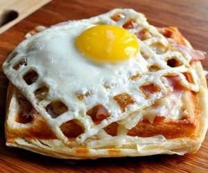 waffled croque madame image