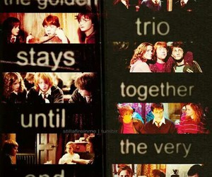 harry potter, ron weasley, and golden trio image