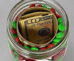 christmas, money, and m&m's image