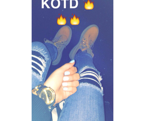 nails, ripped jeans, and gold watch image