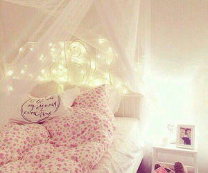 bed, cosy, and pink image