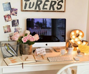 desk, office, and flowers image
