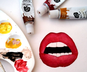 art, lips, and paint image