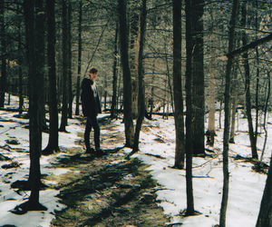 boy, snow, and forest image