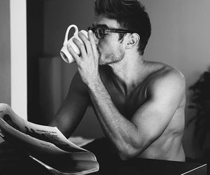 black and white, coffee, and guys image