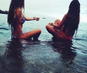 beach, girls, and mar image