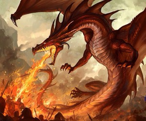 dragon, fire, and fantasy image