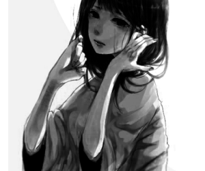 anime, sad, and black and white image