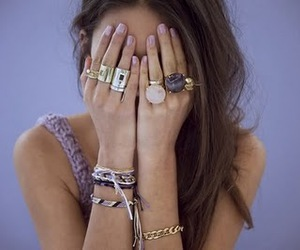 girl, rings, and lilac nails image