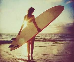 beach, surf, and girl image