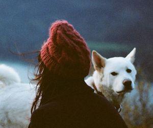 dog, girl, and vintage image