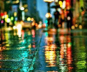 light, rain, and city image