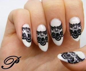 black, nail, and nail polish image