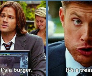 supernatural, burger, and dean winchester image