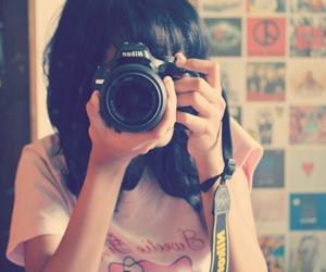 camera, girl, and photograph image