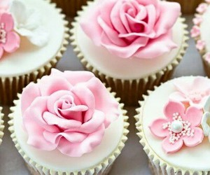 cupcake, flowers, and rose image