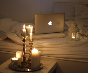 bedding, bedroom, and candles image