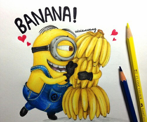 minions, banana, and drawing image