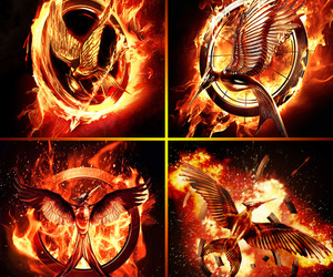 catching fire, the hunger games, and mockingjay image