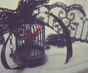 black, lace, and heart image