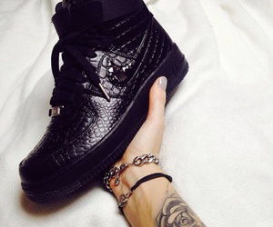 black, leather, and sneakers image