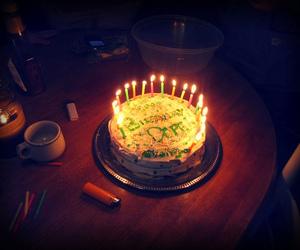 birthday cake, cake, and fire image