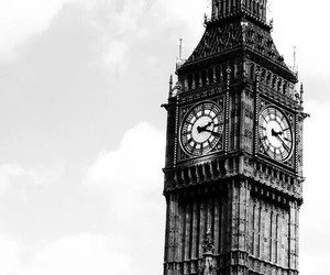 london, black and white, and Big Ben image