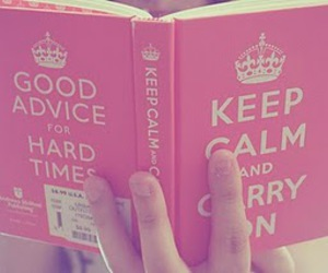 book, pink, and keep calm image