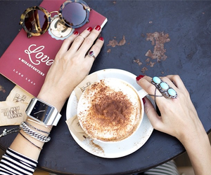 coffee, book, and rings image