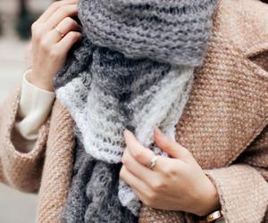 fashion, coat, and scarf image