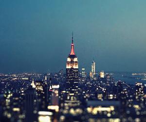 city, night, and new york image