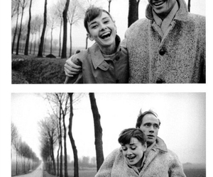 audrey hepburn, black and white, and couple image