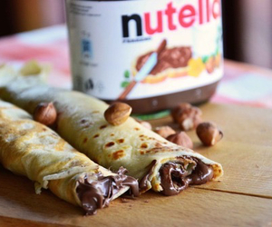 nutella, pancakes, and chocolate image