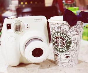 starbucks, camera, and coffee image